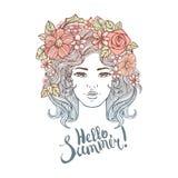 Dekorativ frisyr för flicka med blommor, sidor i hår i klotterstil Natur, utsmyckad blom- illustration och hand vektor illustrationer