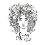 Dekorativ frisyr för svartvit vektorflicka med blommor, sidor i hår i klotterstil Natur utsmyckat som är blom- royaltyfri illustrationer