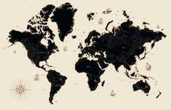 Dekorativ gammal översikt av världen stock illustrationer