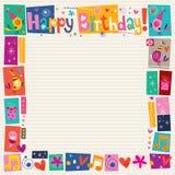 Dekorativ gräns för lycklig födelsedag Arkivfoto