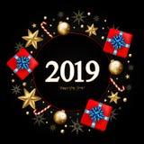 Dekorativ gräns för nytt år som 2019 göras av festliga beståndsdelar på blac royaltyfria bilder