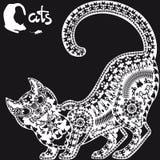 Dekorativ grafisk bild, en katt på svart bakgrund Fotografering för Bildbyråer