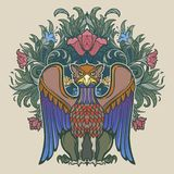 Dekorativ grip Medeltida gotisk stilbegreppskonst vektor för bild för designelementillustration vektor illustrationer