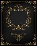 Dekorativ guld- Calligraphic ram Fotografering för Bildbyråer