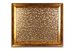Dekorativ guld- ram som isoleras på vit tom interior Arkivbild