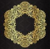 Dekorativ guld- tappningram med svart victori Arkivbilder