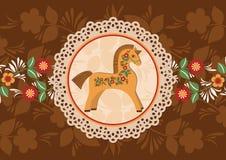 Dekorativ häst- och doilyram 2 Arkivfoton