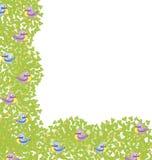 Dekorativ-hörn-element-med-fåglar Royaltyfria Bilder