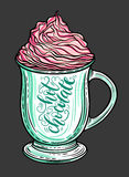 Dekorativ hand dragen klottervektorillustration Varm choklad eller kaffe i en råna med piskad karamell Fotografering för Bildbyråer