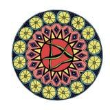 Dekorativ hand dragen mandala med den olika geometriska beståndsdelen arkivfoton
