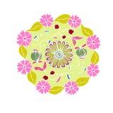 Dekorativ hand dragen mandala med olika blommor, anti-stres royaltyfri bild