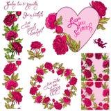 Dekorativ handdrawn blom- hjärta, gräns, ram och sömlöst PA Arkivfoton