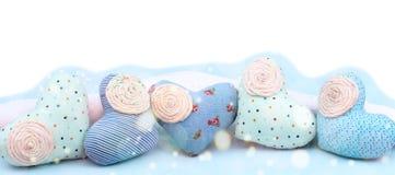Dekorativ handgjord textilhjärta för baner Arkivbilder