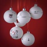 dekorativ handgjord white för bolljul Arkivbild