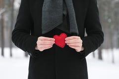 Dekorativ hjärta i händer av män Royaltyfri Bild