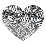 Dekorativ hjärta med prydnaden av cirklar Sida för färgläggningboken, hälsningkort Modell för valentindag Fotografering för Bildbyråer