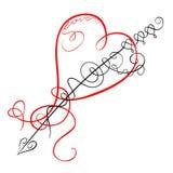 Dekorativ hjärta och pil Fotografering för Bildbyråer