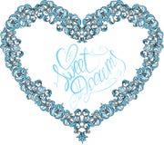 Dekorativ hjärtaform för tappning med calligraphic t royaltyfri illustrationer