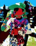 Dekorativ illustration av ljusa färger, yttersidor, pojke royaltyfri illustrationer