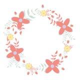 Dekorativ illustration för blom- krans Fotografering för Bildbyråer