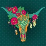 Dekorativ indisk tjurskalle med den etniska prydnaden, blommor och l vektor illustrationer