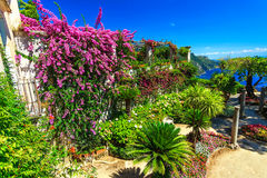 Dekorativ inställd trädgård, Rufolo trädgård, Ravello, Amalfi kust, Italien, Europa Royaltyfria Bilder