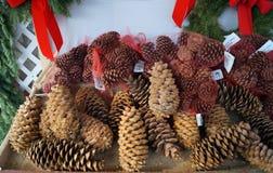 Dekorativ jul sörjer till salu kottar Arkivbild