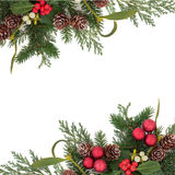 Dekorativ julgräns Fotografering för Bildbyråer