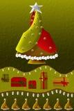Dekorativ julgran royaltyfri illustrationer