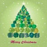 Dekorativ julgran med gåvaaskar Royaltyfria Bilder