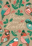 Dekorativ julkort med dekorativa fåglar och mistel Royaltyfria Bilder