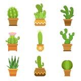 Dekorativ kaktus i krukor vektor för set för tecknad filmhjärtor polar Isolat för ökenväxter på vit bakgrund vektor illustrationer