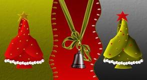 Dekorativ Klocka och julgran stock illustrationer
