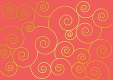 Dekorativ korallbakgrund med guld- virvlar för garnering royaltyfri illustrationer
