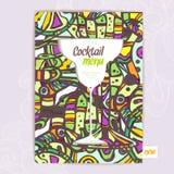 Dekorativ kortmeny med coctailen Royaltyfria Bilder