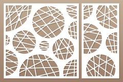 Dekorativ kortuppsättning för att klippa laser eller plottaren geometrisk cirkelmodellpanel Laser-snitt Förhållande1:2, 1:1 också vektor illustrationer