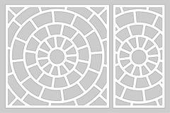 Dekorativ kortuppsättning för att klippa laser eller plottaren Linjär rund modellpanel Laser-snitt Förhållande1:2; 1:1 också vekt vektor illustrationer