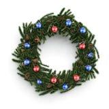 Dekorativ krans för jul med bollar Fotografering för Bildbyråer