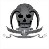 Dekorativ logo för jäkel för designvektorskalle Arkivfoton
