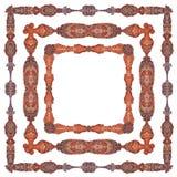 Dekorativ, luxuriös ausführlich, Rahmenmustervielzahl, in drei verschiedenen Versionen lizenzfreie abbildung