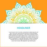 Dekorativ mandala för vektor, tryckbar rund modell med många detaljer Arabiska indier, asiat, afrikanskt motiv för att hälsa royaltyfri illustrationer