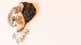 dekorativ maskeringsmasque venice för svart karneval Royaltyfria Bilder
