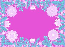 Dekorativ modell av rosa blommor på en ljus rosa bakgrund vektor illustrationer