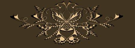 Dekorativ modell med abstrakt begreppblommor och kurvor stock illustrationer