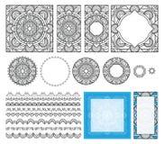 dekorativ modellfyrkant Uppsättningramar, borstar, mallar för design Etnisk prydnad, mandala för färgläggningboken, kort Arkivbilder