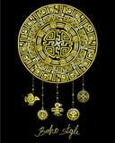 Dekorativ mystisk cirkel med pärlperson som tillhör en etnisk minoritetsmycken