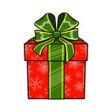 Dekorativ närvarande ask för jul och för nytt år Arkivfoto