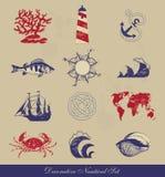 Dekorativ nautisk uppsättning Royaltyfri Illustrationer