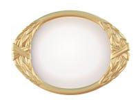 Dekorativ oval guld- ram Fotografering för Bildbyråer