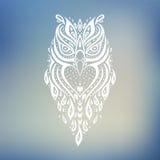 dekorativ owl etnisk modell royaltyfri illustrationer